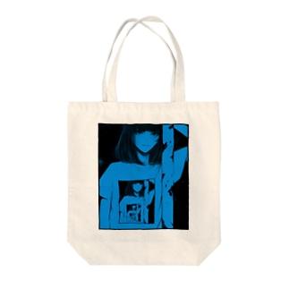 portrait of past ver.Blue Tote bags