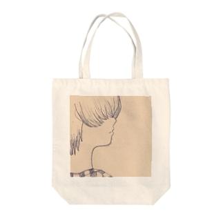 目隠れマッシュ Tote bags