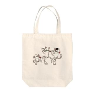 紙ペラにゃんこ(ダンス) Tote bags