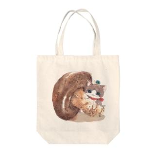 手乗り猫ときのこ Tote bags
