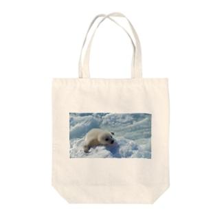 タテゴトアザラシ Tote bags
