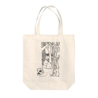 森のオバケちゃん(くろ) Tote bags