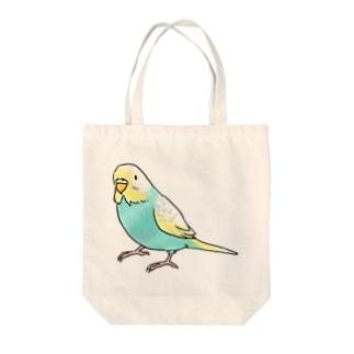 ごきげんセキセイインコ【まめるりはことり】 Tote bags
