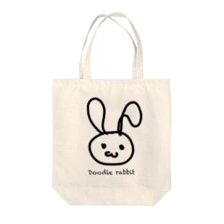 Doodle rabbit Tote bags