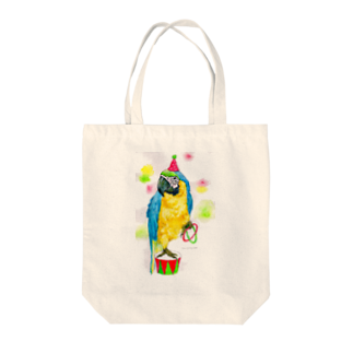 yummy.toy boxのルリコンゴウインコ Tote bags