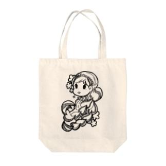髪の毛の長い女の子 Tote bags