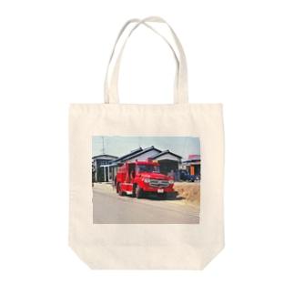 日本の特殊車両:消防車 Japanese fire engine in Showa period Tote bags