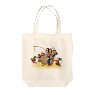 Let's play badminton with イノシシ Tote bags