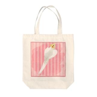 オカメインコ ハートルチノーオカメインコ【まめるりはことり】 Tote bags