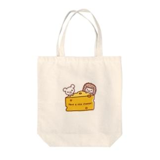 チーズとネズミとハリネズミ Tote bags