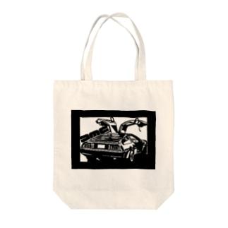DMCデロリアン切り絵デザイン Tote bags