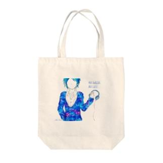 NO MUSIC NO LIFE (宇宙柄) Tote bags