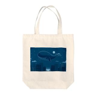 ブルーマリンの夜 Tote bags