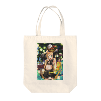 との字@パンダコタンのマリーゴールドときのこの森 Tote bags