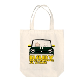 BABY DRIVING A CAR 2 Tote bags