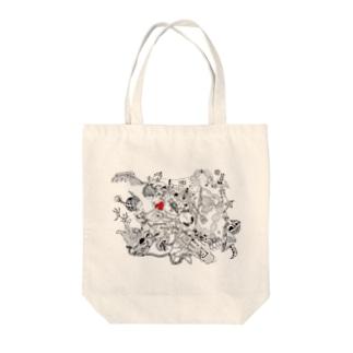 うみつき(:]ミの角っ子と朱 Tote bags
