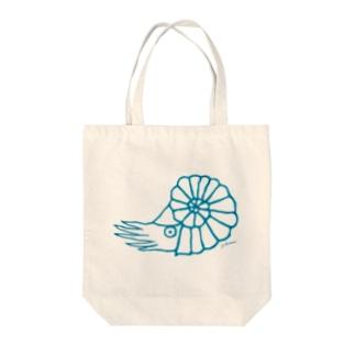 アンモナイト ブルー Tote bags