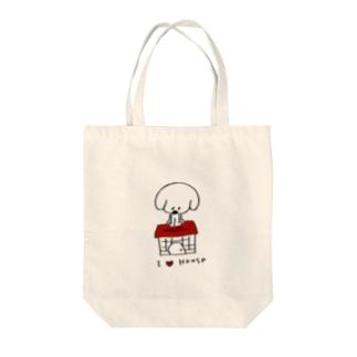I Love House Tote bags