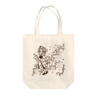 花と刺繍の女の子 Tote bags