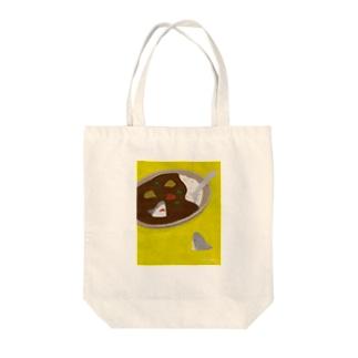 カレーの中と外で視線を交わすサメ/Yellow Base Tote bags