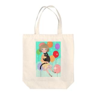 黒猫と女の子 Tote bags