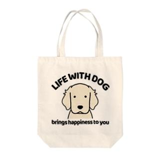 犬と共に(白ゴル) Tote bags
