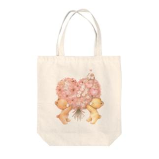 ハートのブーケ Tote bags