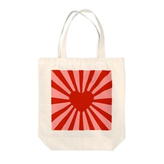 ハート旭日旗 トートバッグ Tote bags