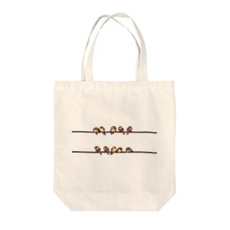 ドット絵-電線すずめ Tote bags