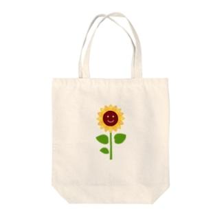 にっこり向日葵ちゃん Tote bags