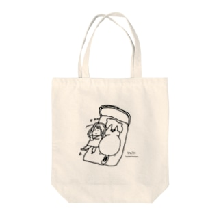 ほっかむねこ屋(アトリエほっかむ)の猫が大きすぎてベッドからはみ出る Tote bags