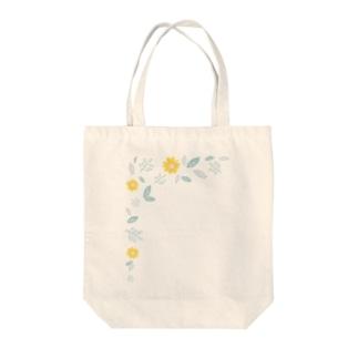 手書き 花フレーム  Tote bags