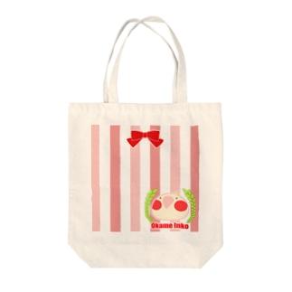 【名入れ可】ましゅまろインコ☆オカメのリボントート Tote bags