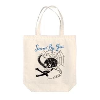 スカル シーサイドブラック Tote bags
