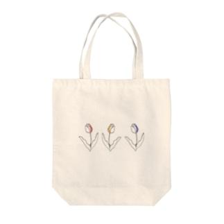 3色チューリップ線画🌷 Tote bags