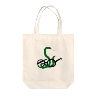 ヘビメガネ Tote bags