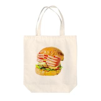 目隠しハンバーガー Tote bags