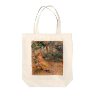 「風景の中のピンクと黄色の女性」ルノワール Tote bags