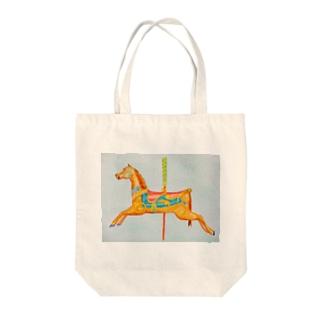 carousel watercolor Tote bags