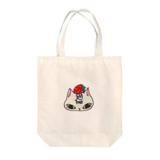 猫いちご Tote bags