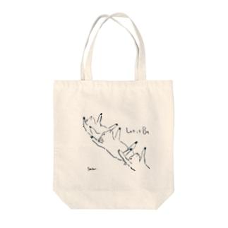 鳥獣戯画風 子羊トートバッグ Tote bags