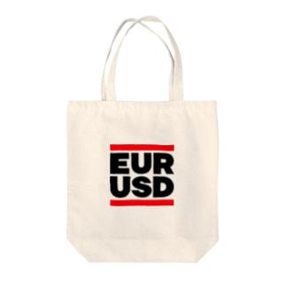 ユロドル ユーロドル EURUSD FX 為替 両替 RUNDMC風 黒字黒フォント 黒字の文字なのでカラーは白色がオススメです 黒色だと文字が分かりません Tote bags