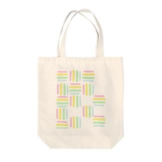 yuruholismの幾何学 図形 模様 ピンク イエロー 黄色 グリーン 緑 水色 ブルー 薄い Tote bags