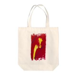 赤いオシャレ女のイラスト Tote bags