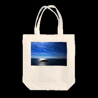夏の空と飛行機雲 トートバッグ