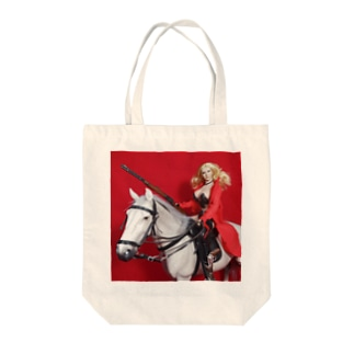 FUCHSGOLDのドール写真:白馬に跨るブロンド美少女 Doll picture: Blonde gunfighter Tote bags