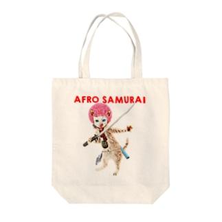 Rock catのAFRO SAMURAI Tote bags