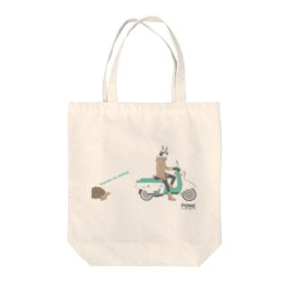 うさぎとカメ Tote bags
