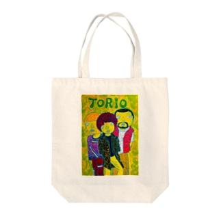 一風変わったトリオのイラスト Tote bags