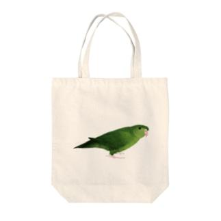 まめるりはことりのサザナミインコ グリーン【まめるりはことり】 Tote bags